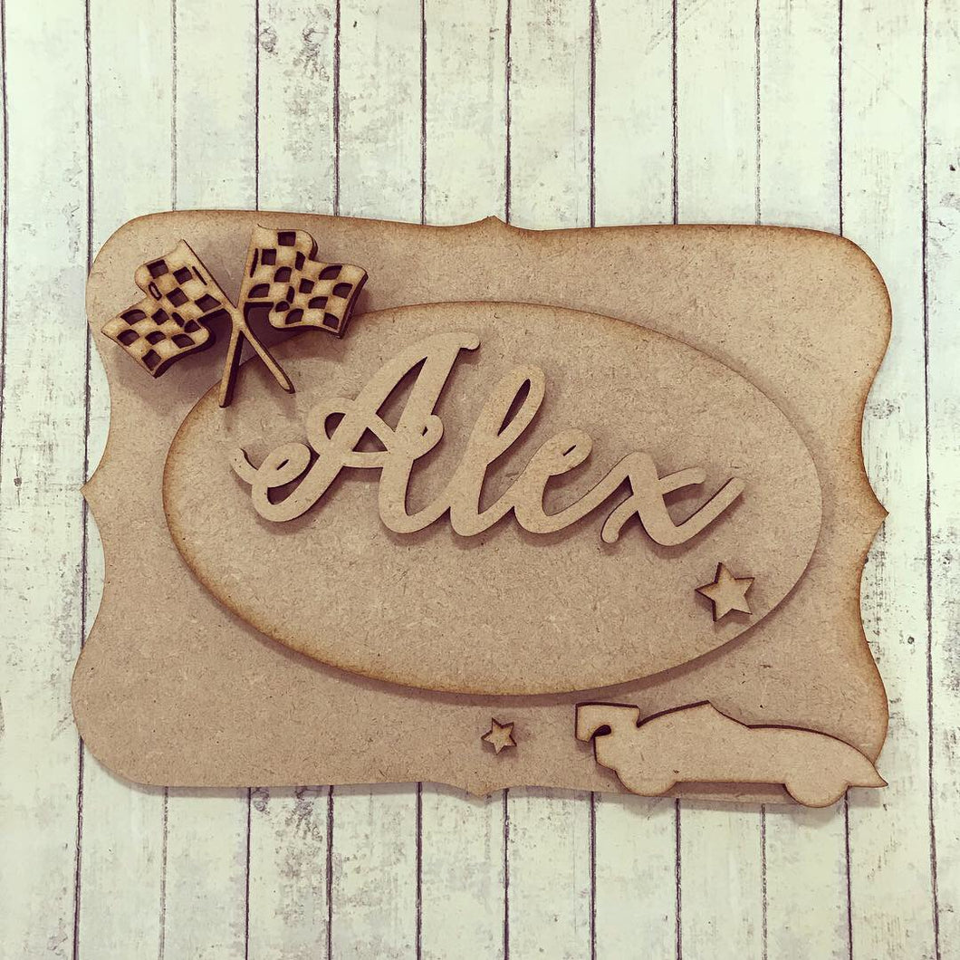 OP012 - MDF Racing Car Themed Personalised Plaque
