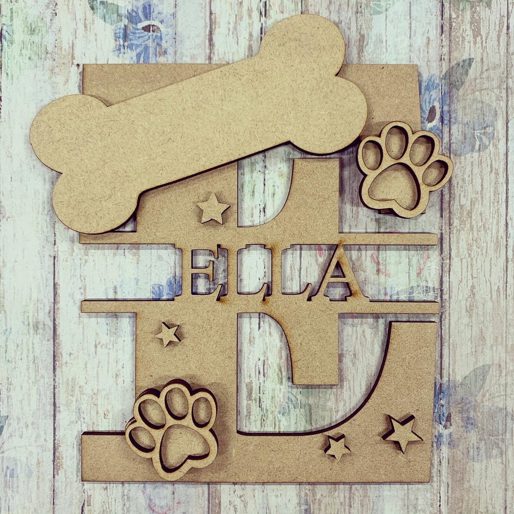 FL004 - MDF Dog Bone Personalised Split Letter