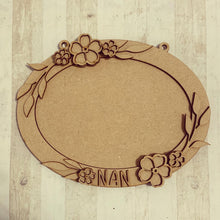 OV002 - MDF Oval Open Flower Themed Photo Frame With Hanging