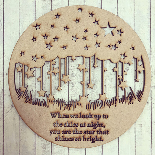 PL005 - MDF Round Stars 'Skies at Night' Memorial Plaque