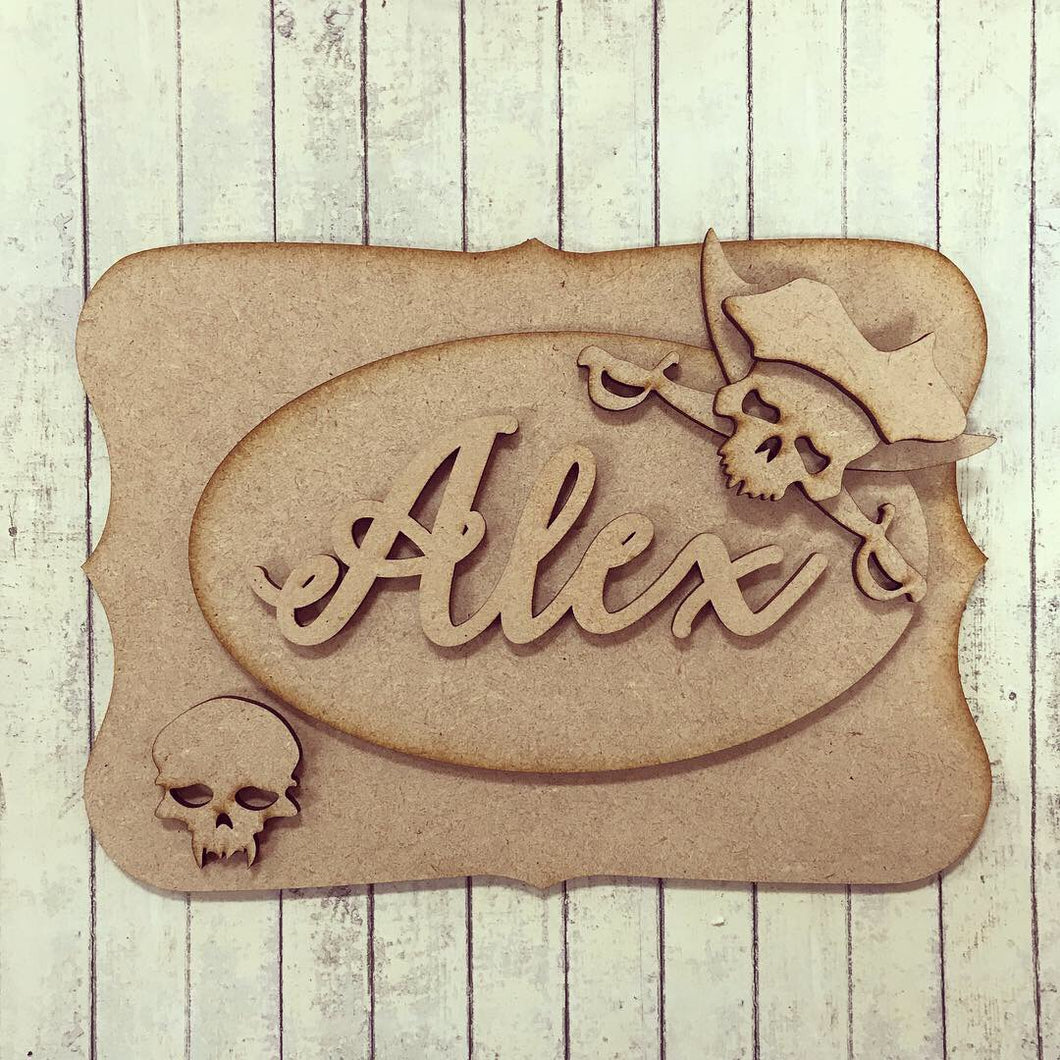 OP013 - MDF Pirate Skulls Themed Personalised Plaque - Olifantjie - Wooden - MDF - Lasercut - Blank - Craft - Kit - Mixed Media - UK