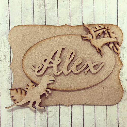 OP019 - MDF SJ Dinosaurs Themed Personalised Plaque