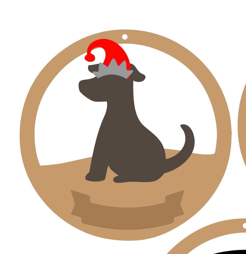 CH145 - MDF & Acrylic Dog Christmas Circle Bauble