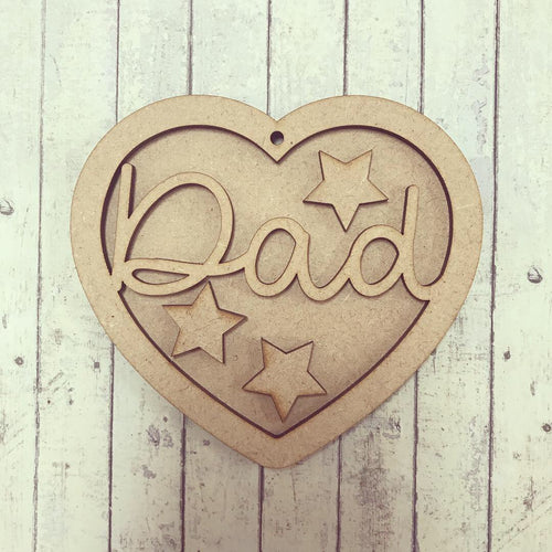 HB009 - MDF Hanging Heart - Star Themed with Choice of Wording - 2 Fonts