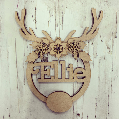 CH172 - MDF Personalised Reindeer Horn Bauble/Hanging