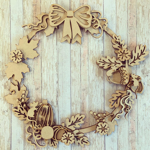 OL403 - MDF Large Autumn Mice Floral Pumpkin Wreath
