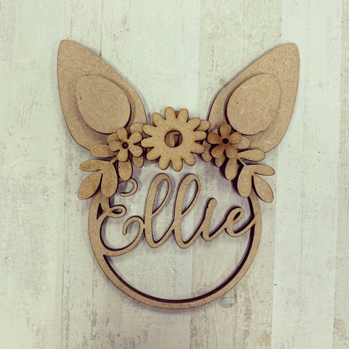 PB001 - MDF Personalised Easter Bunny Ears Hanging - Olifantjie - Wooden - MDF - Lasercut - Blank - Craft - Kit - Mixed Media - UK