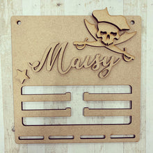 BH012 - MDF Pirate Themed - Medal / Bow Holder - Personalised & Choice of Shape - Olifantjie - Wooden - MDF - Lasercut - Blank - Craft - Kit - Mixed Media - UK