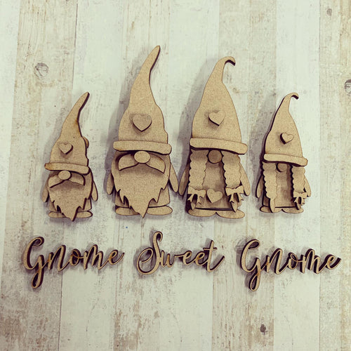 GN007 - MDF Gnome Family Set - Gnome Sweet Gnome