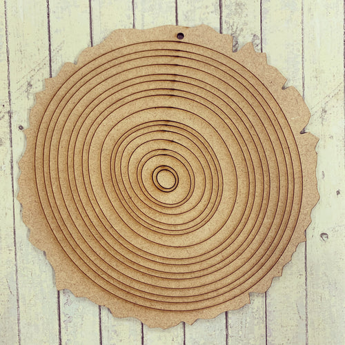 PL009 - MDF Wood Slice Effect Circle Hanging Blank