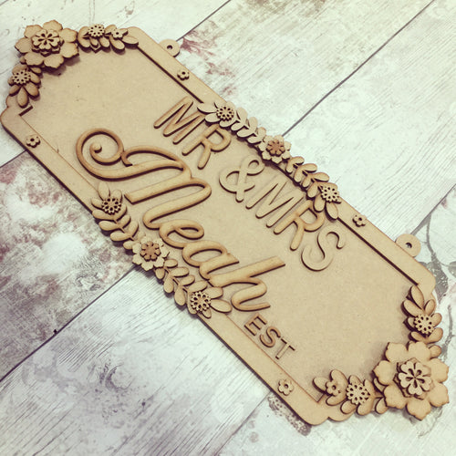SS079 - MDF Mr & Mrs Double Height Personalised Street Sign