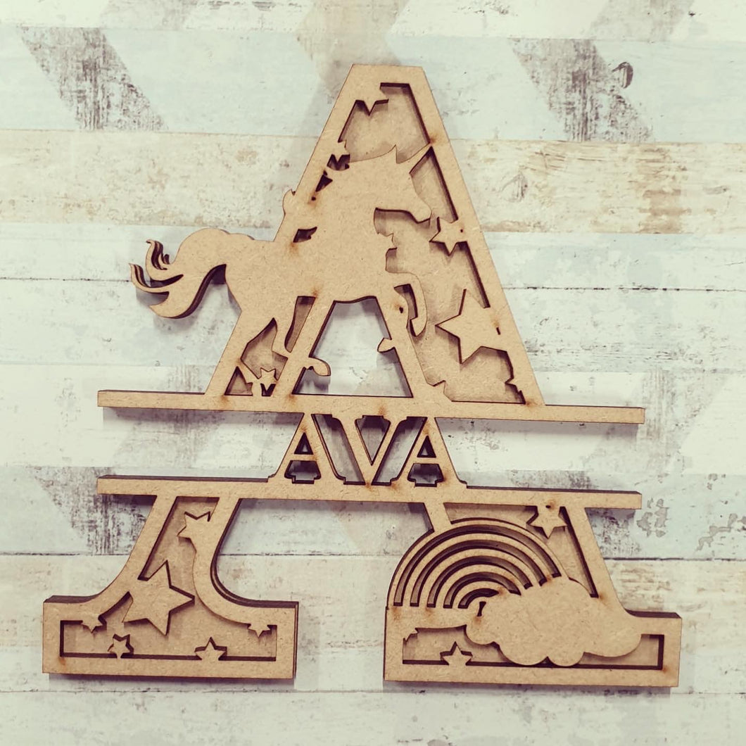 DL051 - MDF Rainbow Unicorn  Themed Layered Letter (without name)