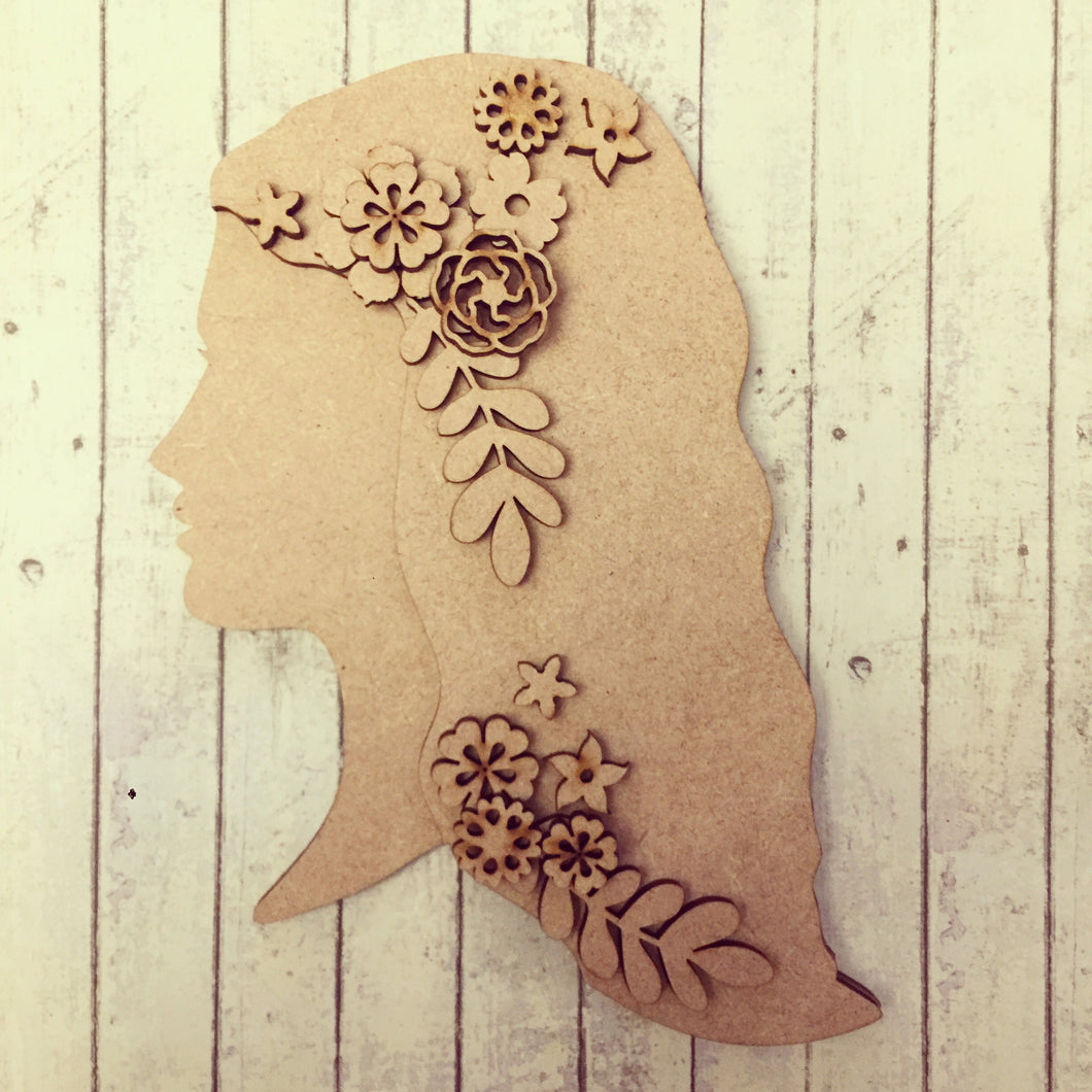 OL260 - MDF Floral Long Haired Girl
