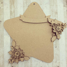 HS004 - MDF Hanging Star - Poinsettia - Choice of Star Shape - Olifantjie - Wooden - MDF - Lasercut - Blank - Craft - Kit - Mixed Media - UK