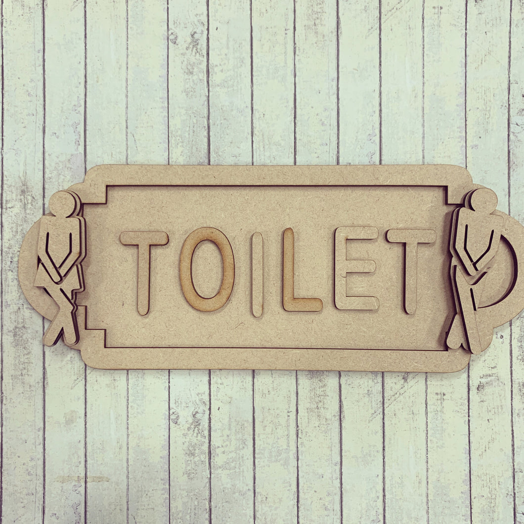 SS096 - MDF Toilet People Theme Personalised Street Sign - Large (12 letters)