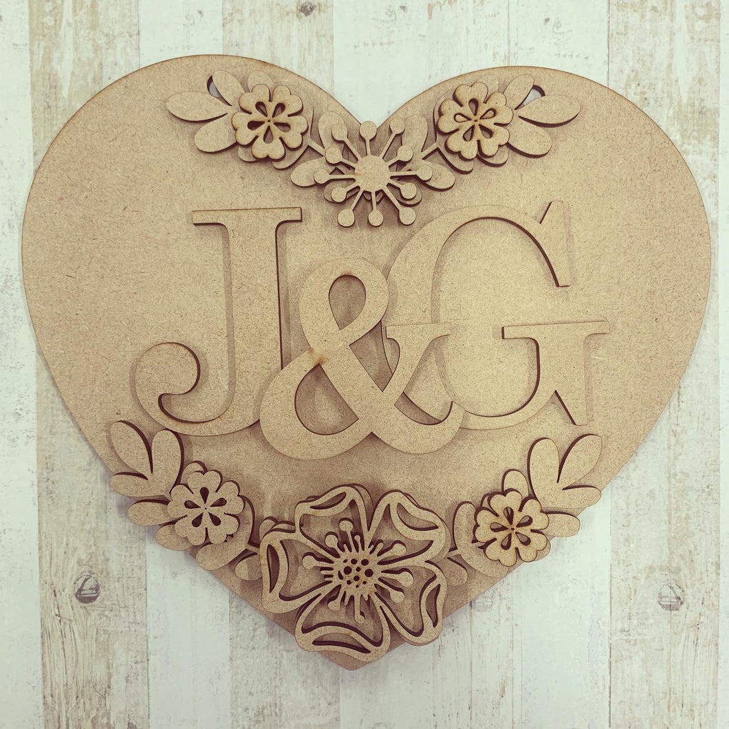 HH010- MDF Personalised Floral Heart Hanging