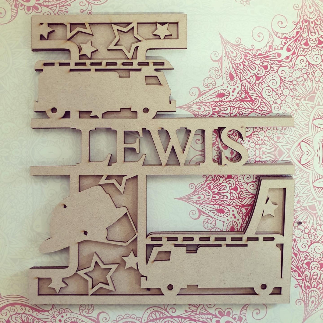 DL038 - MDF Fire Engine Themed Layered Letter (without name)