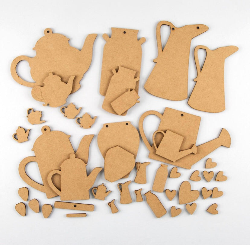 HC082 - MDF Folk Jugs & Churns - Olifantjie - Wooden - MDF - Lasercut - Blank - Craft - Kit - Mixed Media - UK