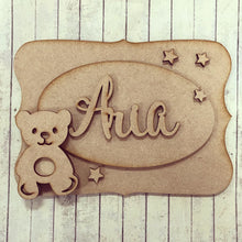 OP006 - MDF Teddy Bear Themed Personalised Plaque - Olifantjie - Wooden - MDF - Lasercut - Blank - Craft - Kit - Mixed Media - UK