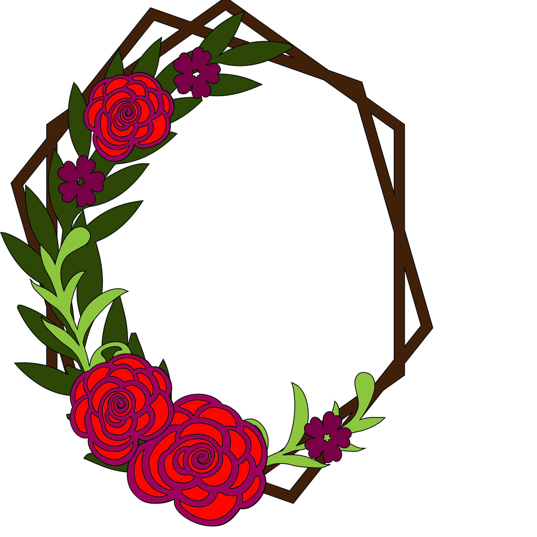 HX001 - MDF Dog Rose Style 1 Hexagonal Wreath