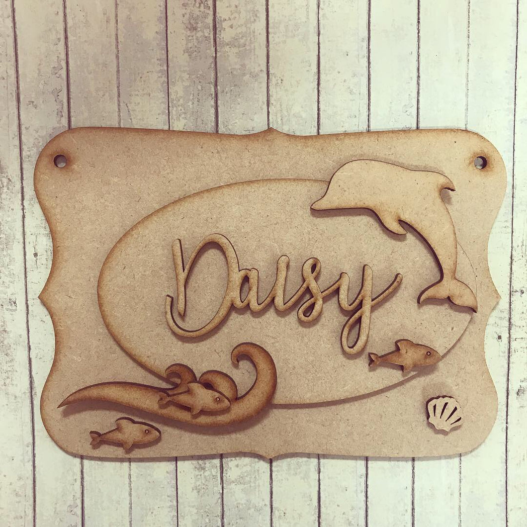 OP032 - MDF Dolphin Themed Personalised Plaque