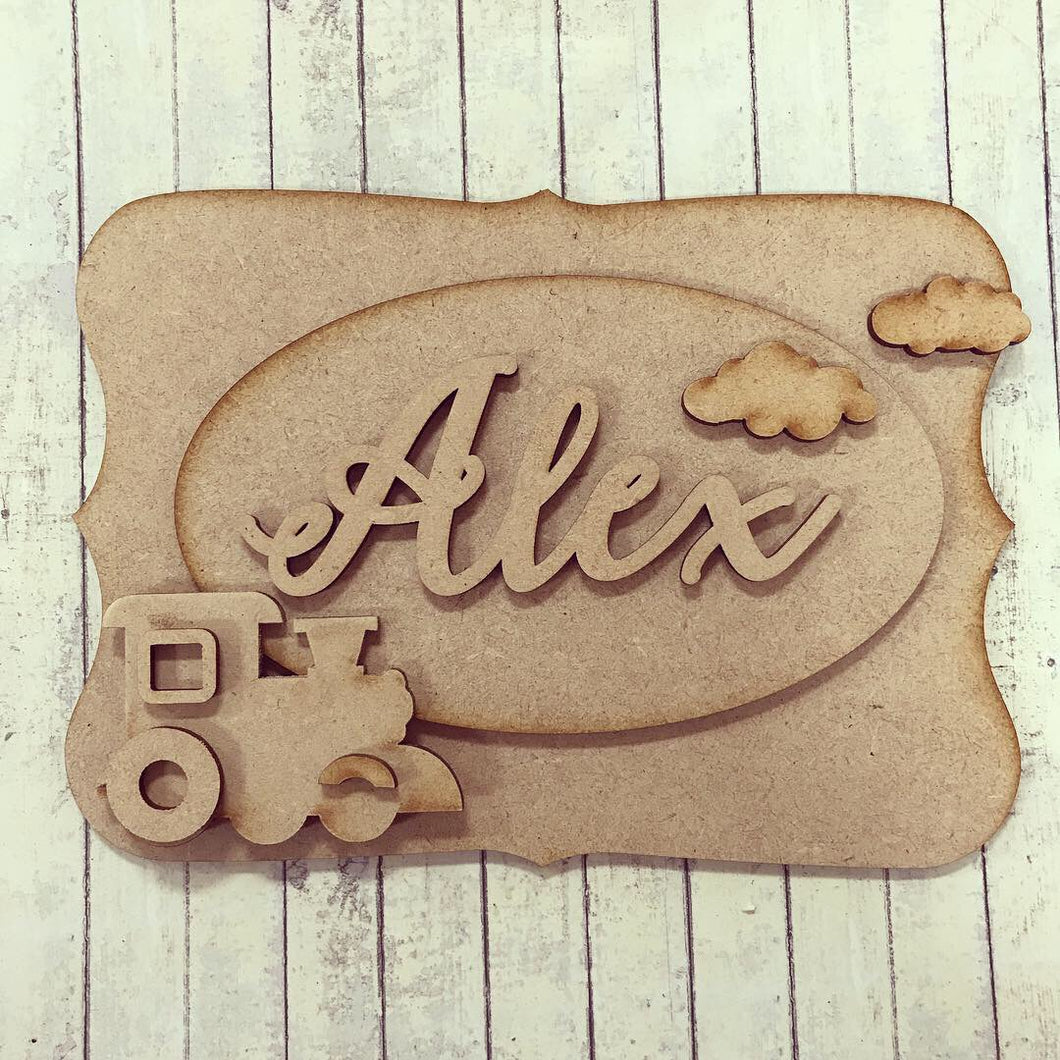 OP015 - MDF Train Themed Personalised Plaque - Olifantjie - Wooden - MDF - Lasercut - Blank - Craft - Kit - Mixed Media - UK