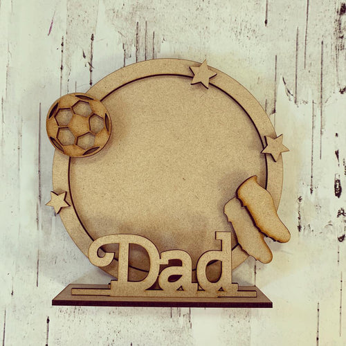 CF036 - MDF Football Themed Personalised Freestanding Circular Photo Frame