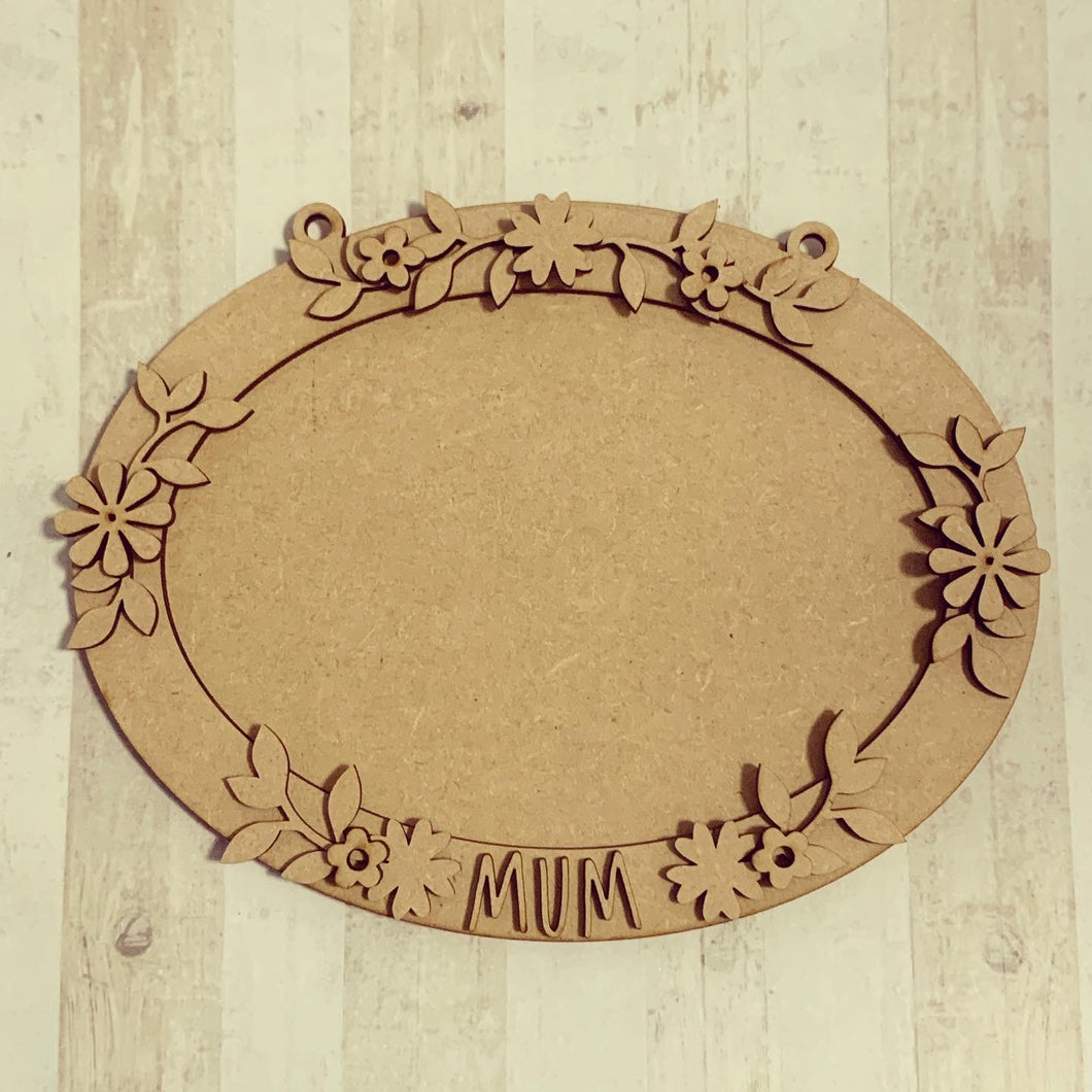 OV011 - MDF Oval Pretty Flowers Themed Photo Frame With Hanging