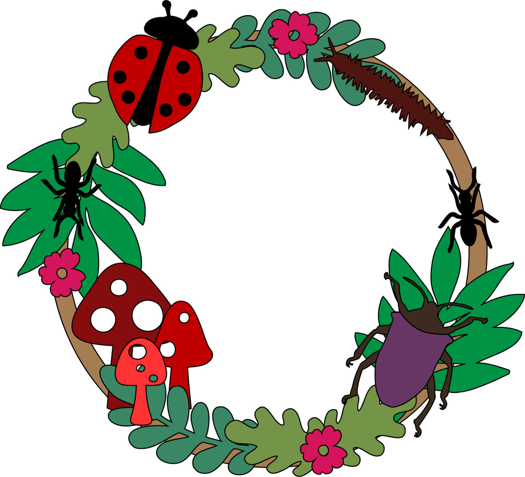 W055 - MDF Bug wreath with one Name  or initials