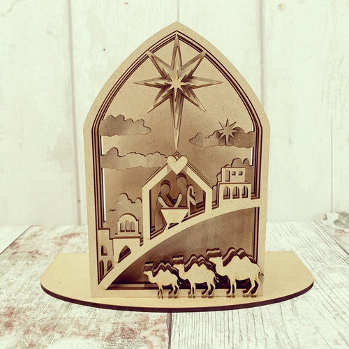 HC122 - MDF Freestanding Nativity layered Scene