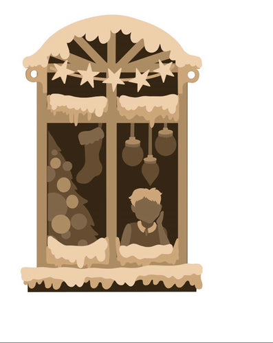 SJ319 - MDF Sarah Jane Winter  Window Scene Hanging
