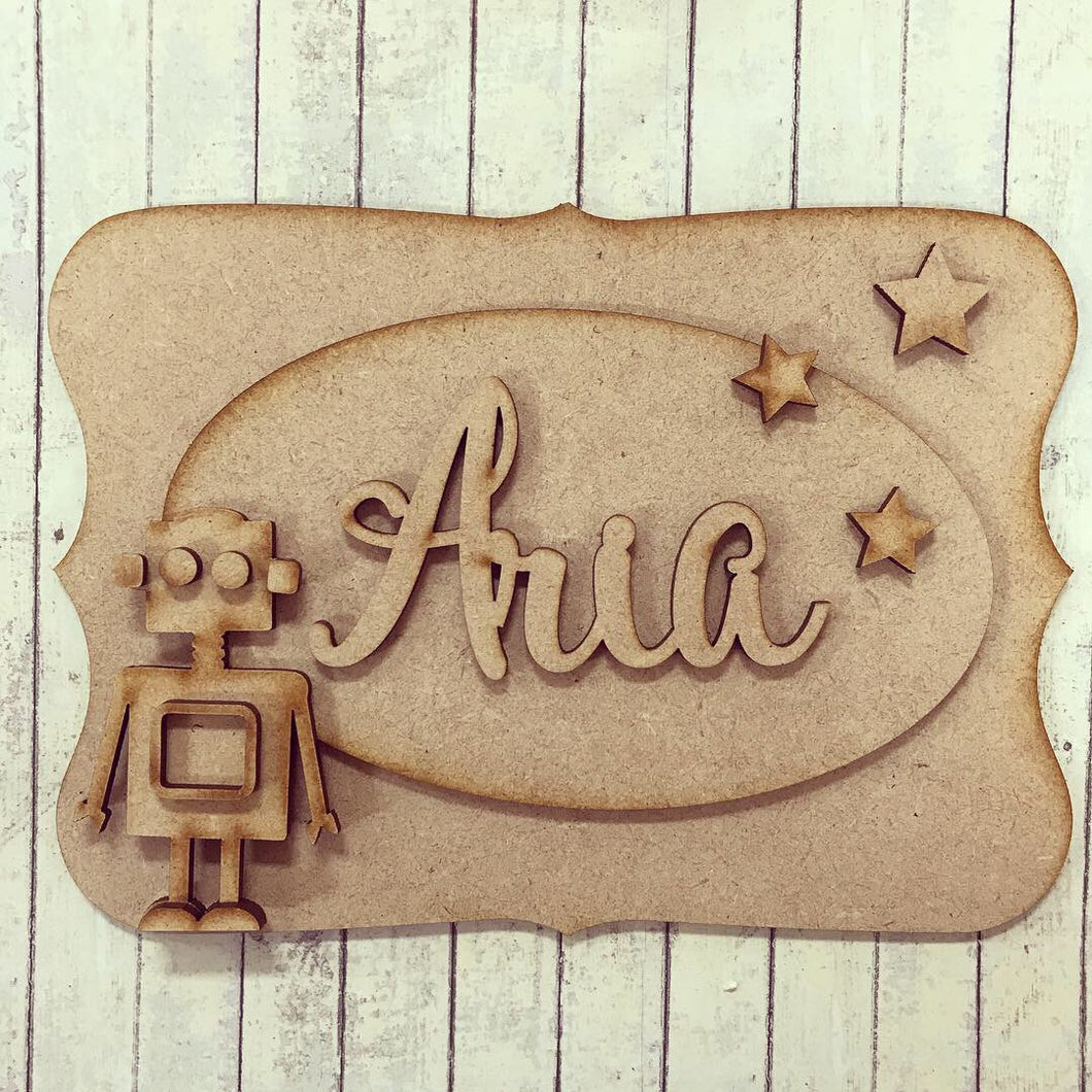 OP008 - MDF Robot Themed Personalised Plaque