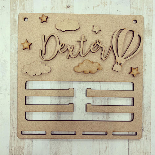 BH033 - MDF Hot Air Balloon Themed - Medal / Bow Holder - Personalised & Choice of Shape