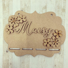 BH035 - MDF Flowers Themed - Medal / Bow Holder - Personalised & Choice of Shape - Olifantjie - Wooden - MDF - Lasercut - Blank - Craft - Kit - Mixed Media - UK