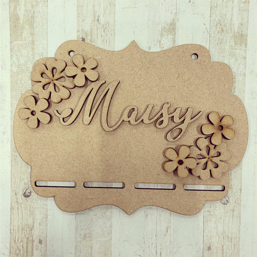 BH035 - MDF Flowers Themed - Medal / Bow Holder - Personalised & Choice of Shape