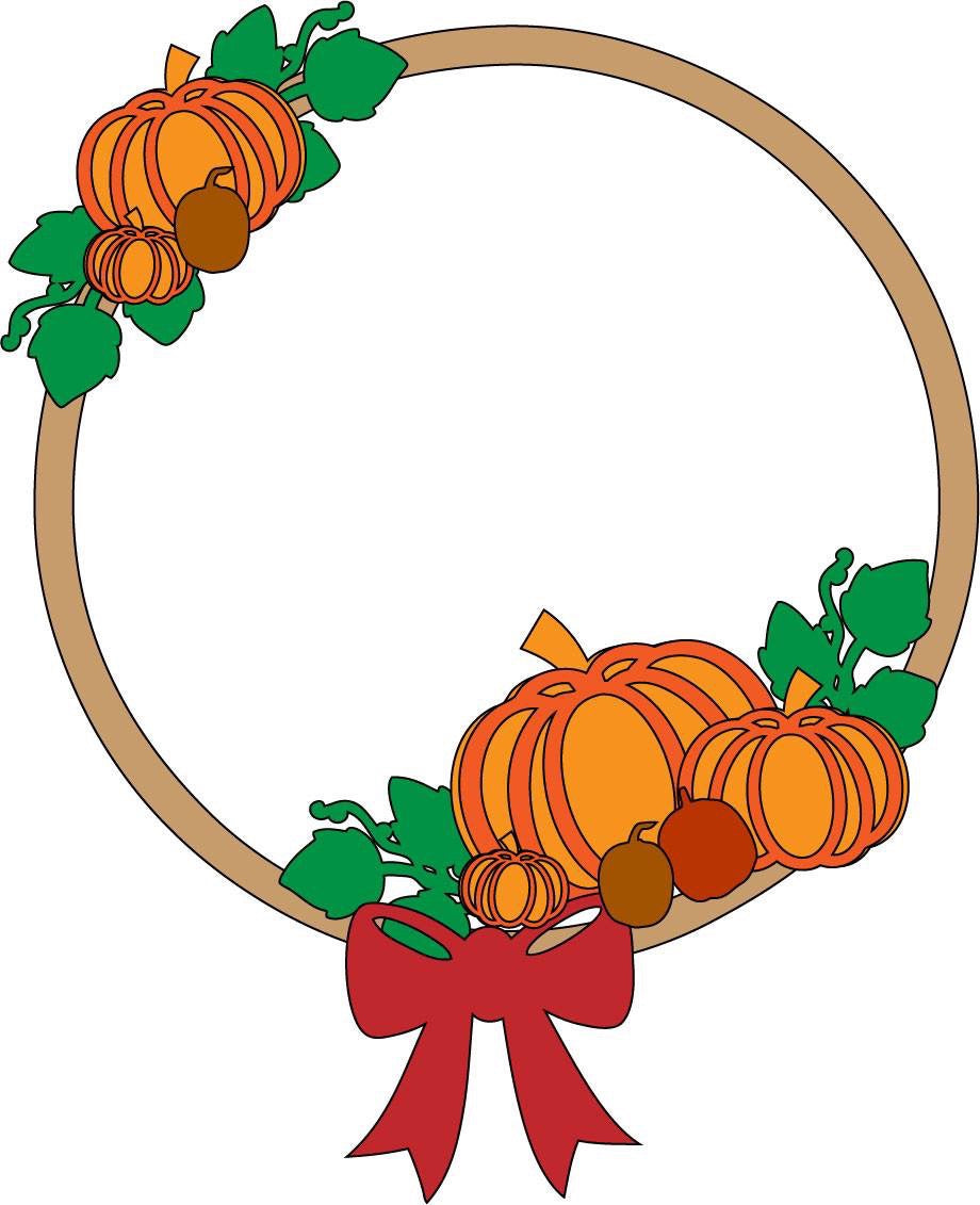 W045 - Pumpkin Themed Wreath - Olifantjie - Wooden - MDF - Lasercut - Blank - Craft - Kit - Mixed Media - UK