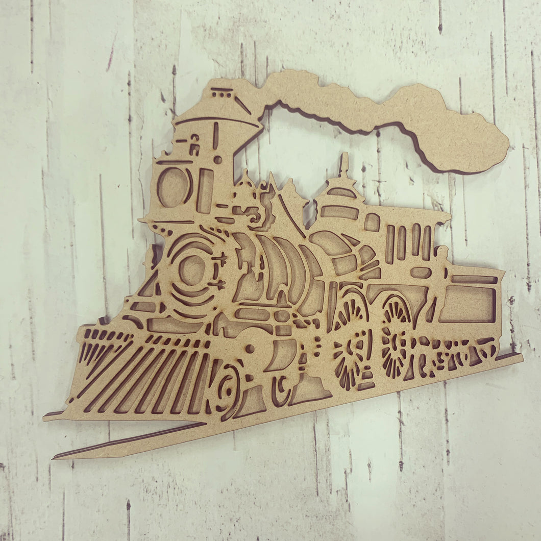 BD014 - MDF Bonnita Doodles Steam Train - Layered Cut - Olifantjie - Wooden - MDF - Lasercut - Blank - Craft - Kit - Mixed Media - UK