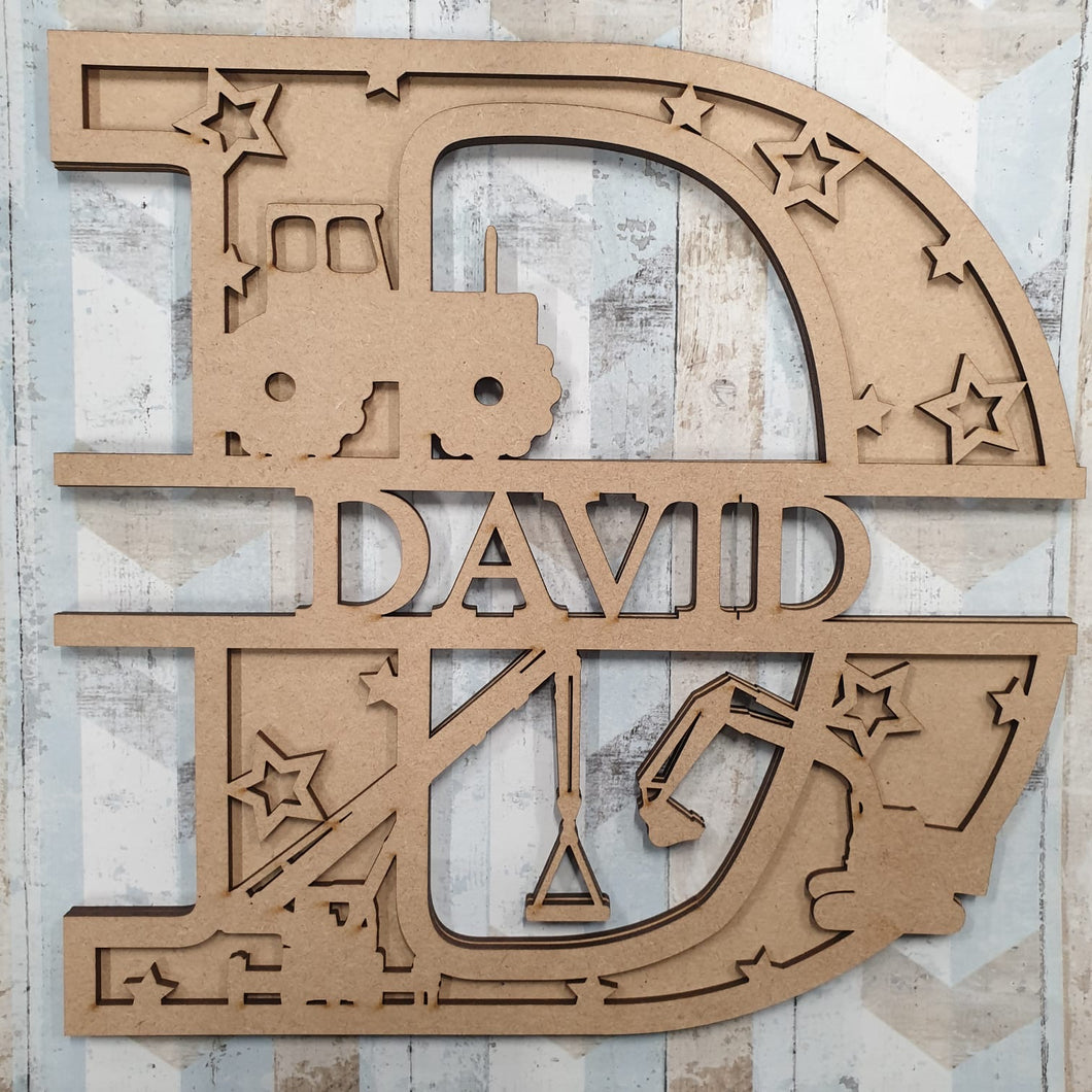 DL052 - MDF Crane Themed Layered Letter (without name)