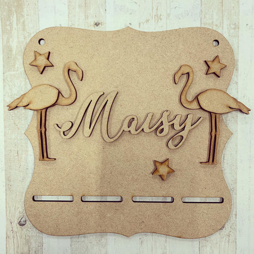 BH015 - MDF Flamingo Themed - Medal / Bow Holder - Personalised & Choice of Shape