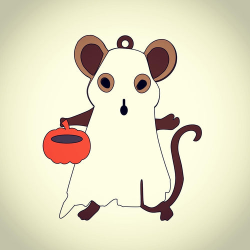 OL398 - MDF Ghost Mouse Hanging Halloween Bauble