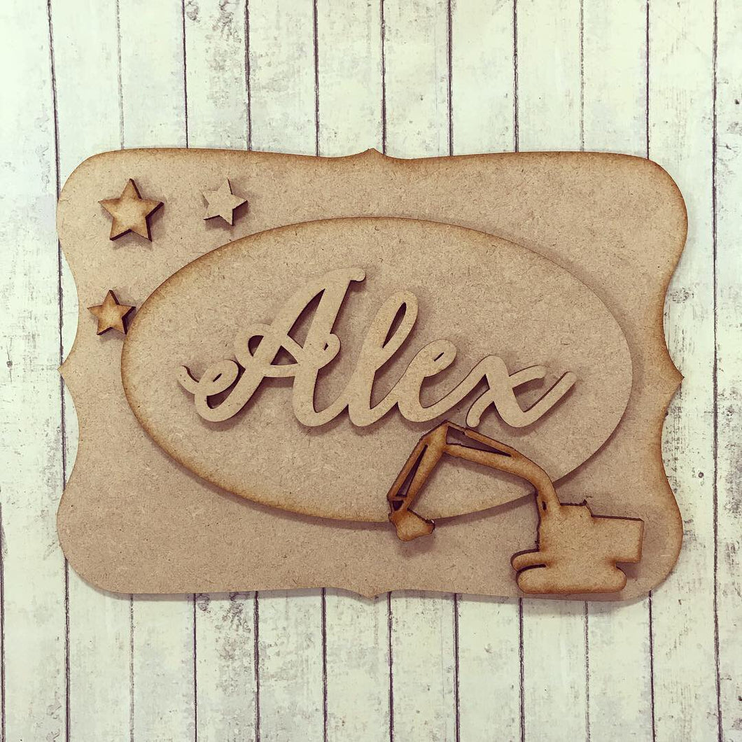 OP024 - MDF Digger Themed Personalised Plaque