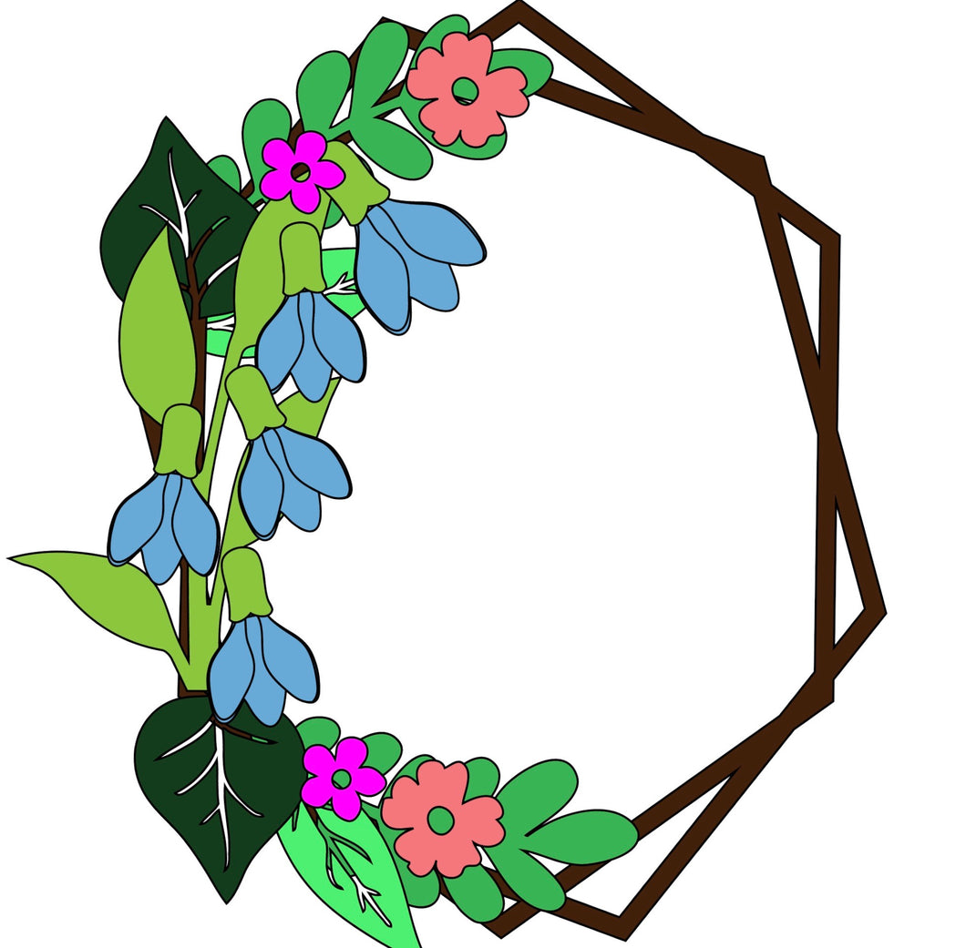 HX018 - MDF Bluebell / Snowdrop  Style 2 Hexagonal Wreath