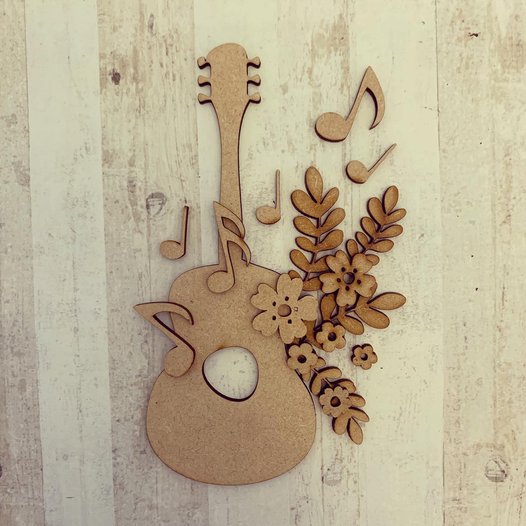 OL297 - MDF Floral Guitar Craft Kit - Olifantjie - Wooden - MDF - Lasercut - Blank - Craft - Kit - Mixed Media - UK