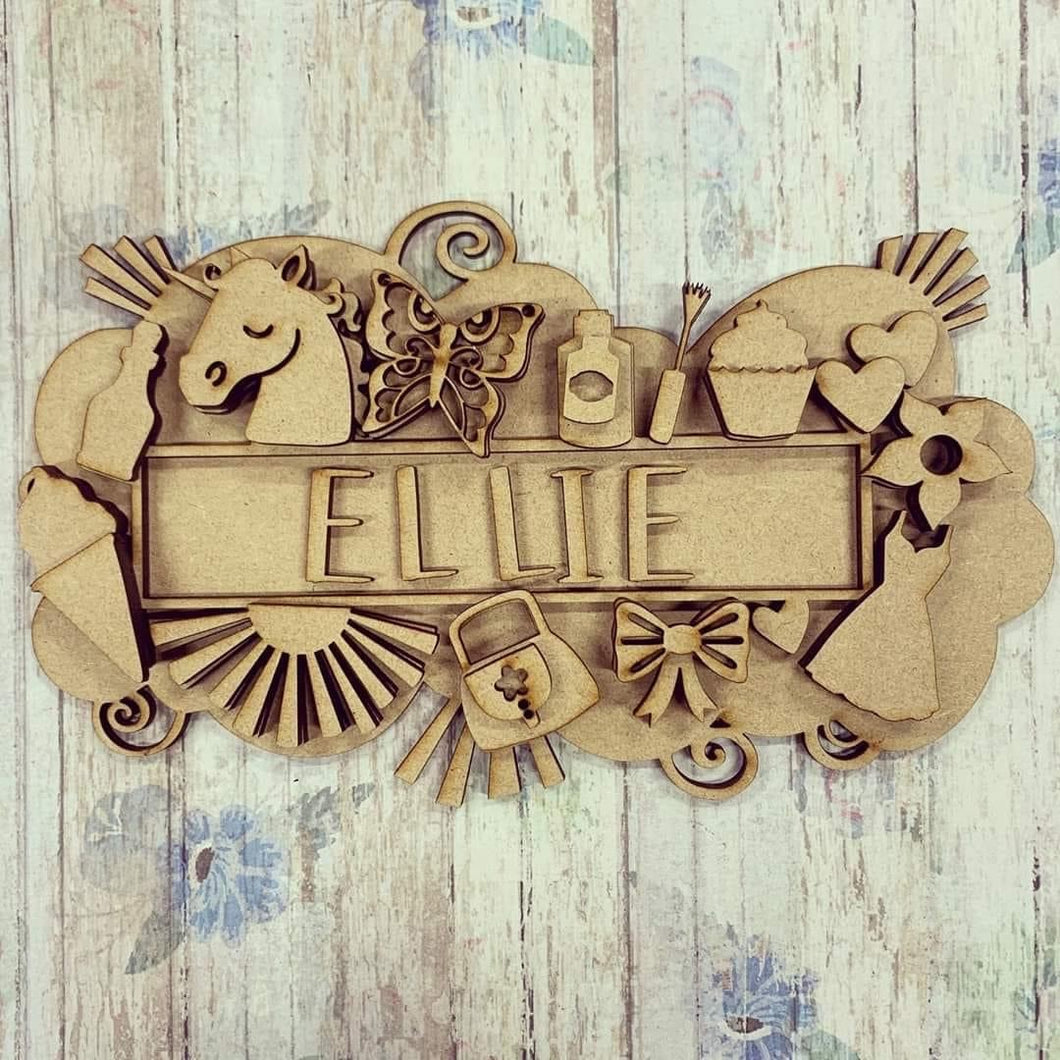 SJ320 - MDF Layered Girly Female Theme Personalised Plaque