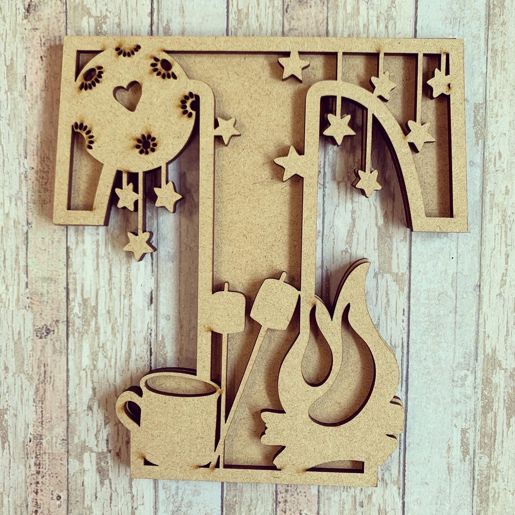 DL055 - MDF Campfire Themed Layered Letter (without name)