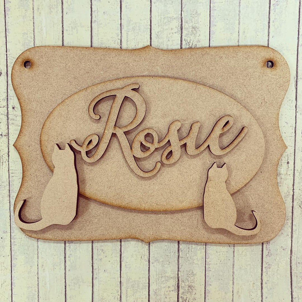 OP048 - MDF Cat Themed Personalised Plaque - Olifantjie - Wooden - MDF - Lasercut - Blank - Craft - Kit - Mixed Media - UK
