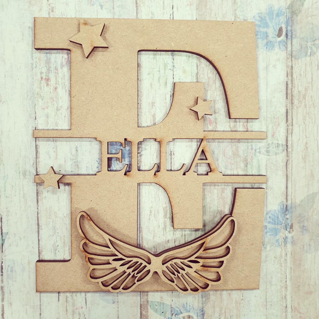 FL012 - Angel Wings MDF Personalised Split Letter