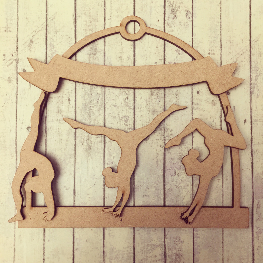 MH001 - MDF Oval Gymnastic - Medal / Ribbon Holder - Olifantjie - Wooden - MDF - Lasercut - Blank - Craft - Kit - Mixed Media - UK