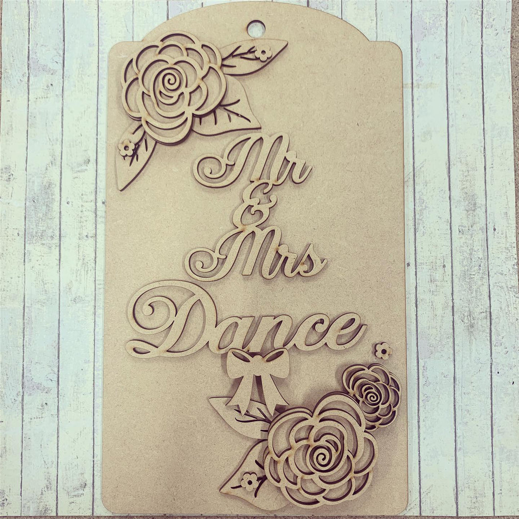 DT002 - MDF Large Hanging Door Tag / Luggage Label - Floral Theme - Olifantjie - Wooden - MDF - Lasercut - Blank - Craft - Kit - Mixed Media - UK