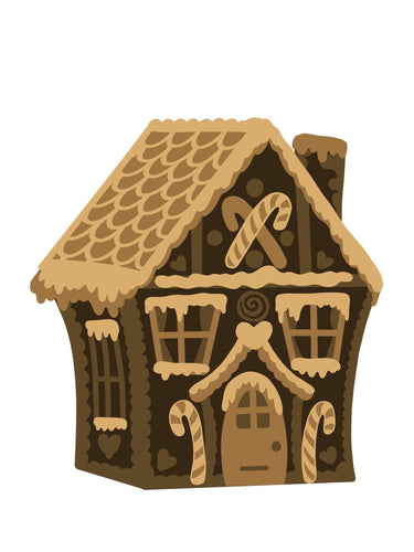 SJ404 -  MDF Sarah Jane Square Christmas Gingerbread  Flat House